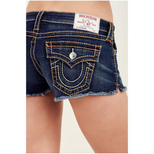 True Religion Women's Big T Cut Off Denim Shorts